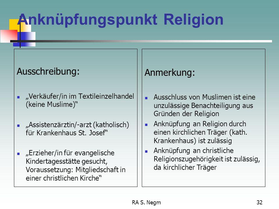 Anknüpfungspunkt Religion