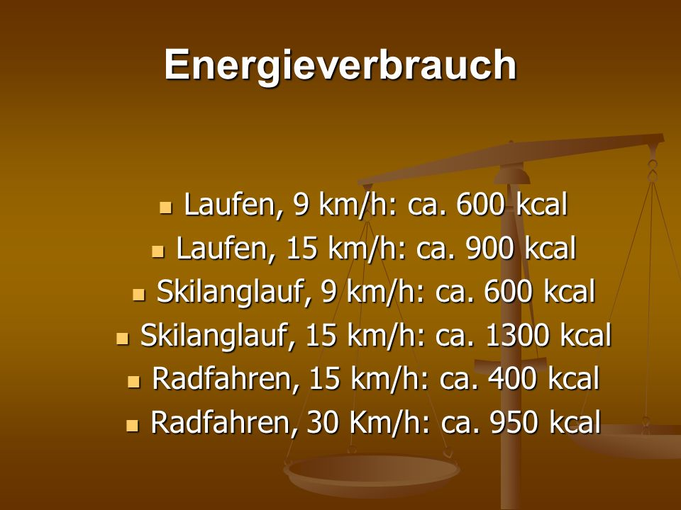 Energieverbrauch Laufen, 9 km/h: ca. 600 kcal