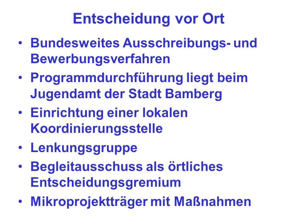 Entscheidung vor Ort Bundesweites Ausschreibungs- und Bewerbungsverfahren. Programmdurchführung liegt beim Jugendamt der Stadt Bamberg.