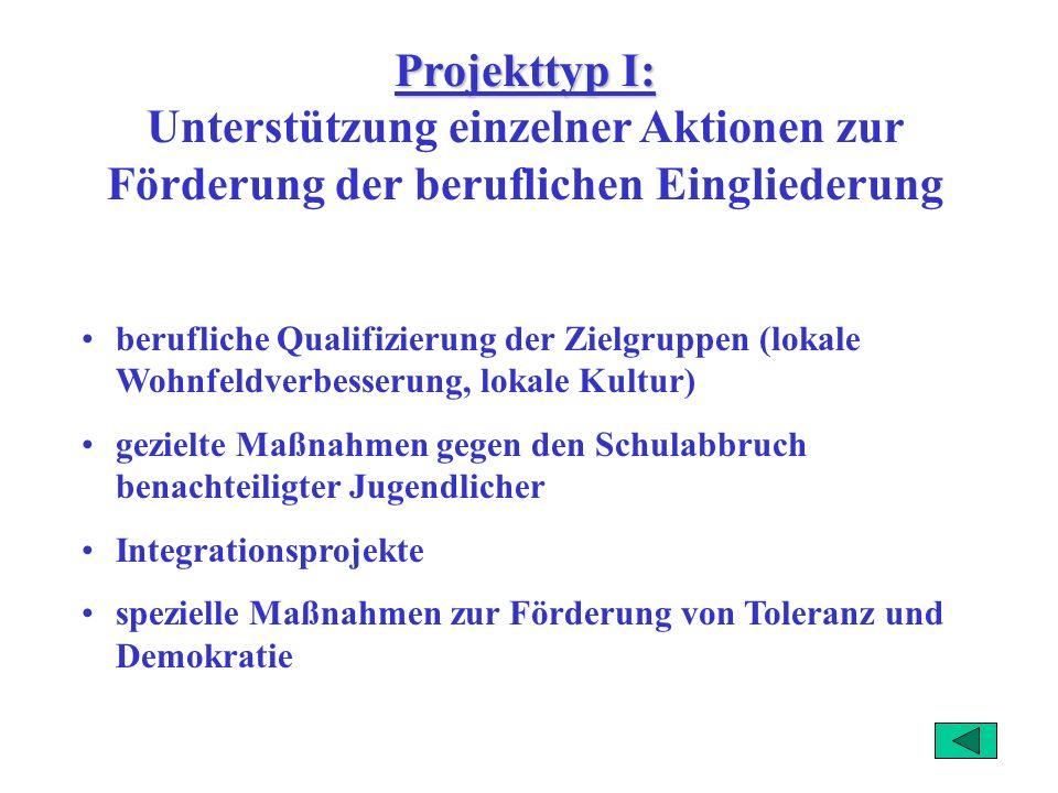 Projekttyp I: Unterstützung einzelner Aktionen zur Förderung der beruflichen Eingliederung