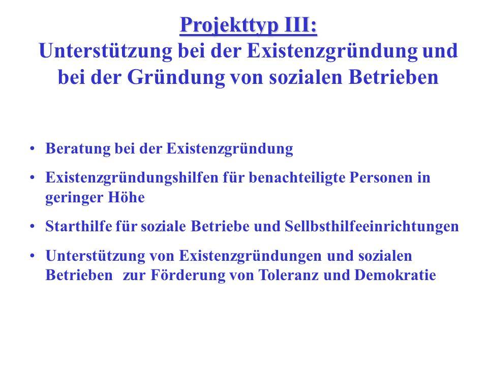 Projekttyp III: Unterstützung bei der Existenzgründung und bei der Gründung von sozialen Betrieben