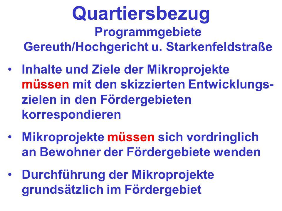 Quartiersbezug Programmgebiete Gereuth/Hochgericht u. Starkenfeldstraße