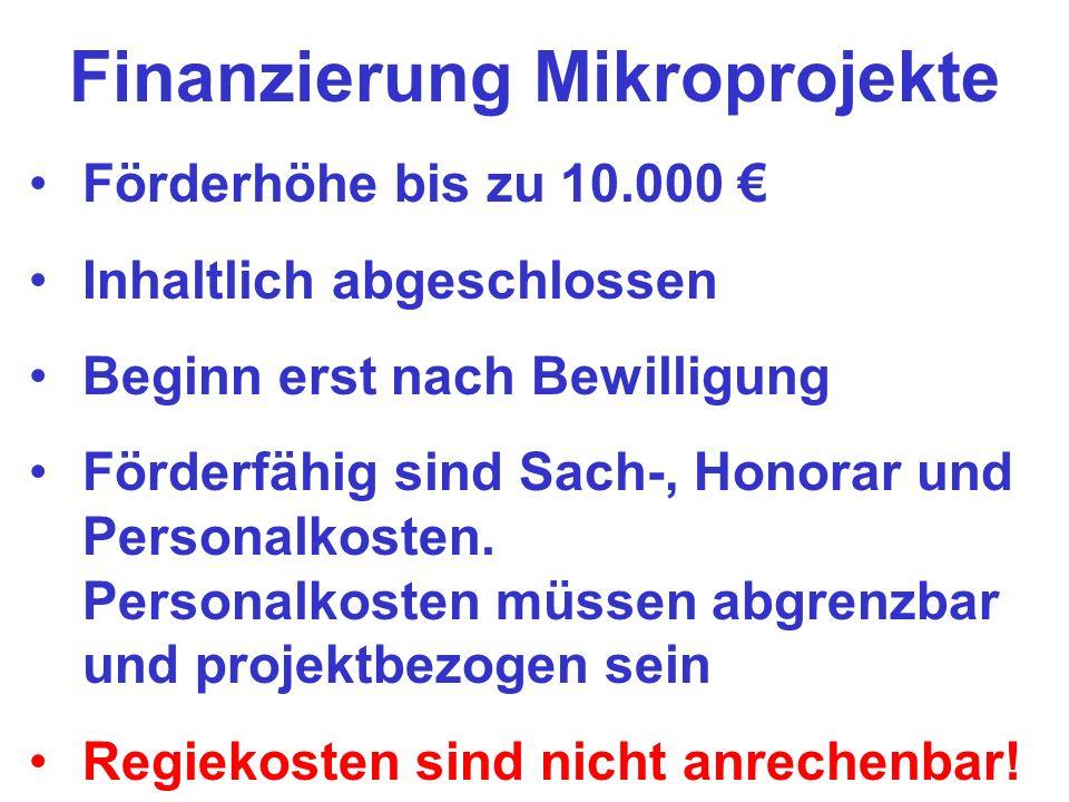 Finanzierung Mikroprojekte