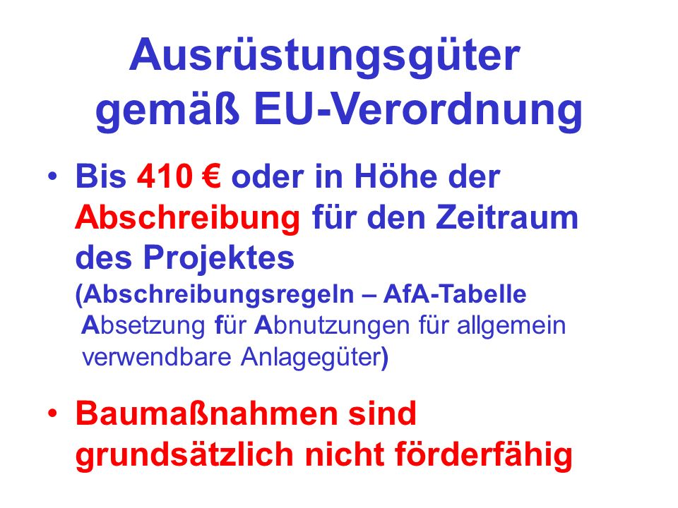 Ausrüstungsgüter gemäß EU-Verordnung