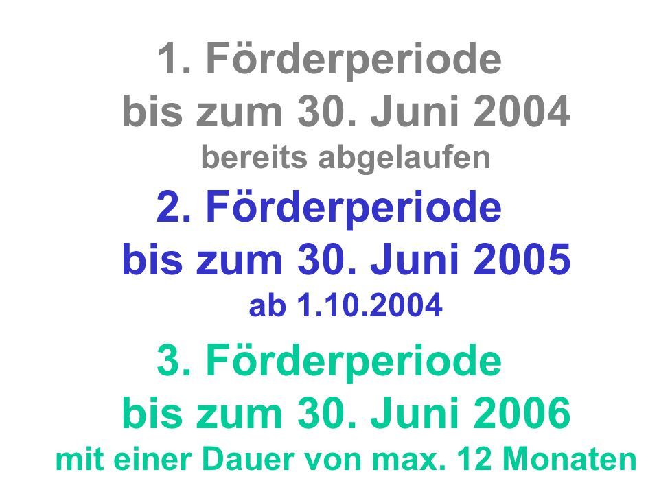 1. Förderperiode bis zum 30. Juni 2004 bereits abgelaufen