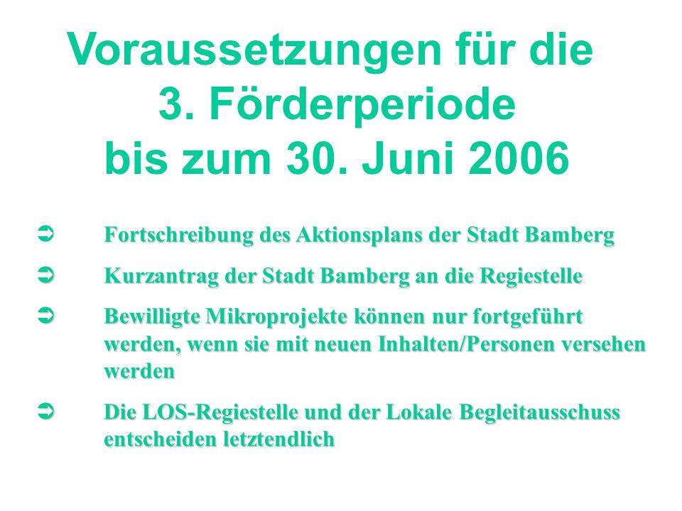 Voraussetzungen für die 3. Förderperiode bis zum 30. Juni 2006