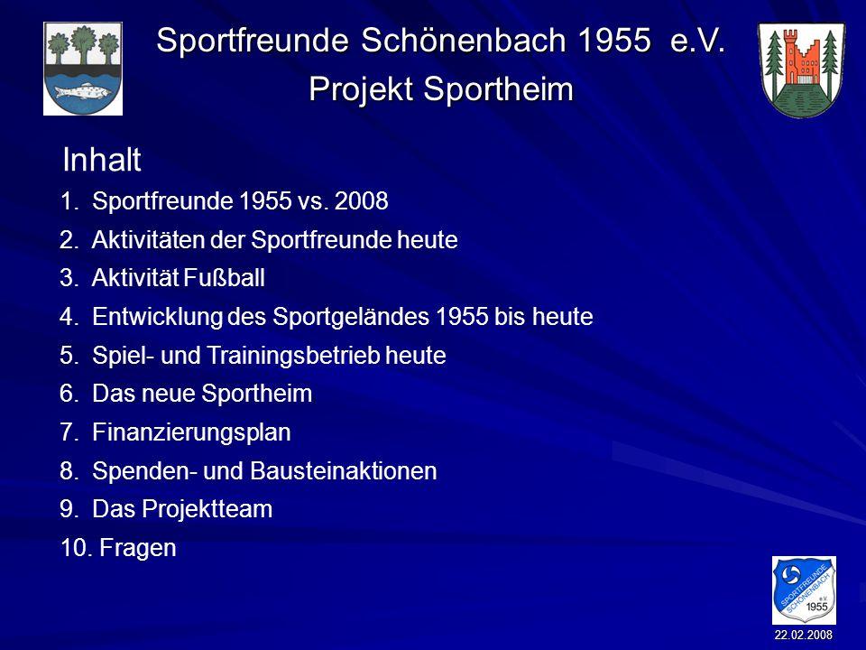 Inhalt Sportfreunde 1955 vs. 2008 Aktivitäten der Sportfreunde heute