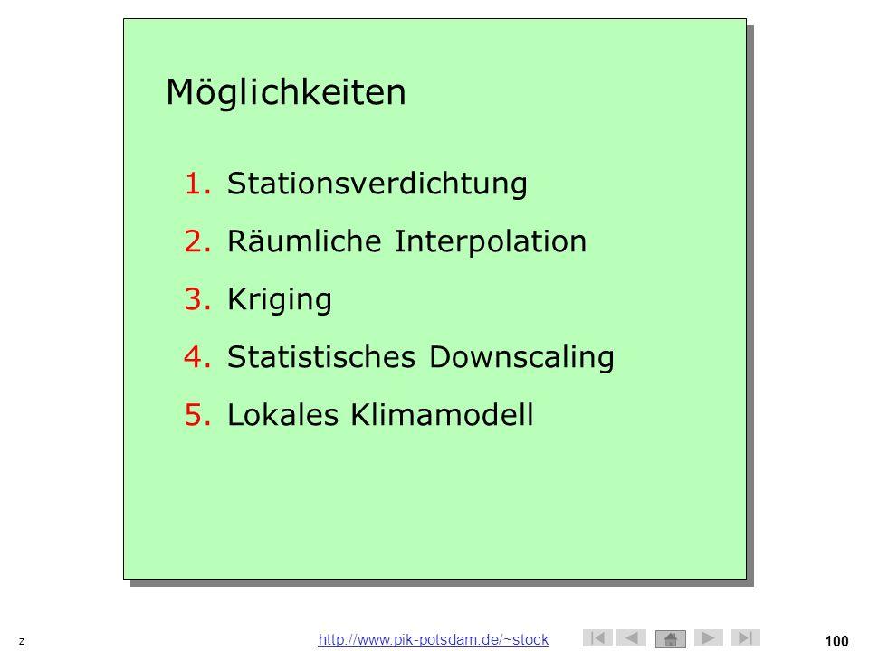 Möglichkeiten Stationsverdichtung Räumliche Interpolation Kriging