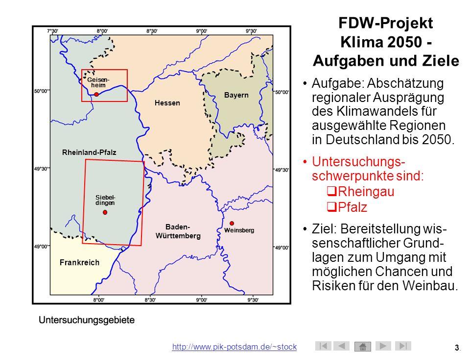 FDW-Projekt Klima 2050 - Aufgaben und Ziele