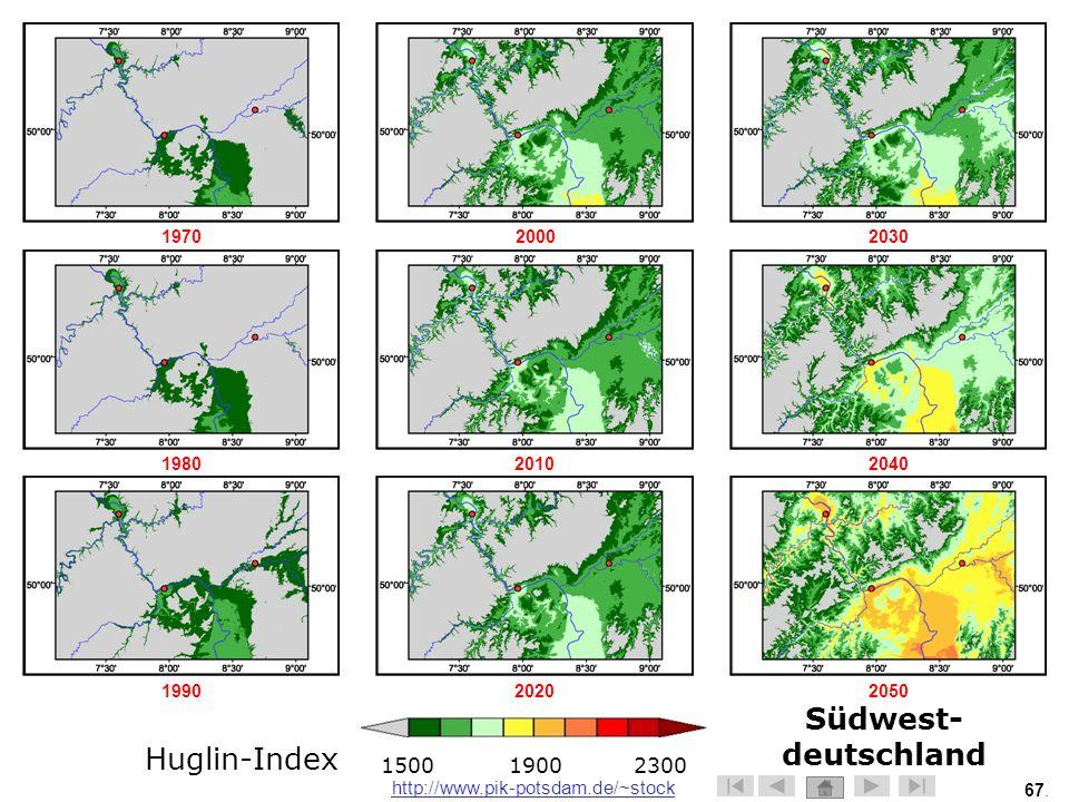 Südwest-deutschland Huglin-Index 1500 1900 2300 1970 2000 2030 1980