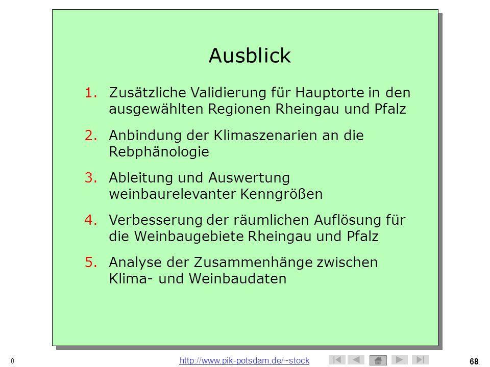 Ausblick Zusätzliche Validierung für Hauptorte in den ausgewählten Regionen Rheingau und Pfalz. Anbindung der Klimaszenarien an die Rebphänologie.