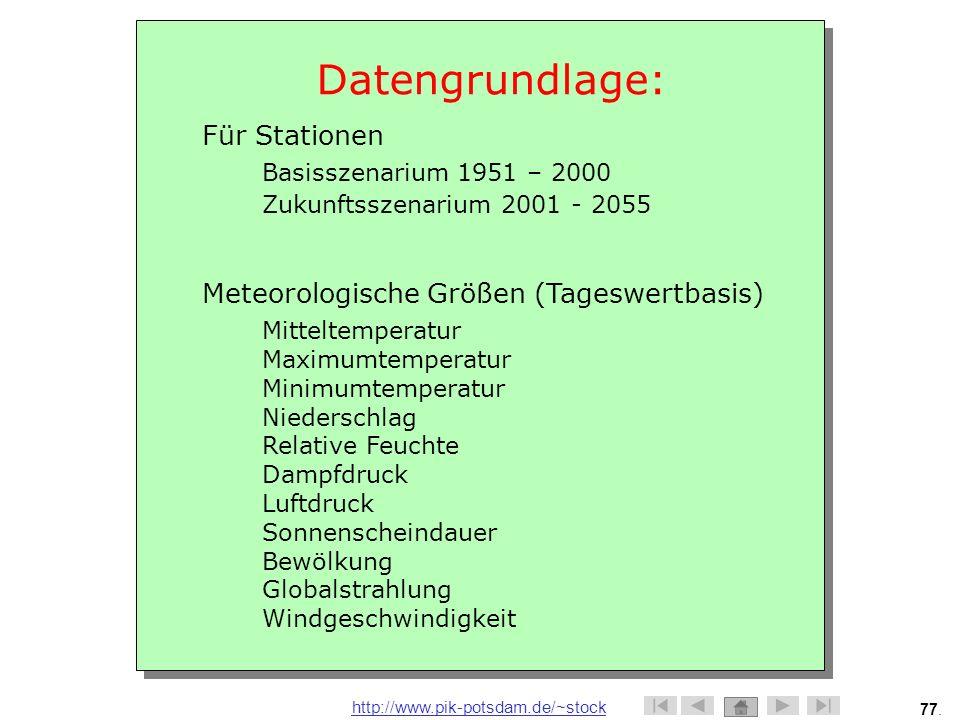Datengrundlage: Für Stationen Meteorologische Größen (Tageswertbasis)