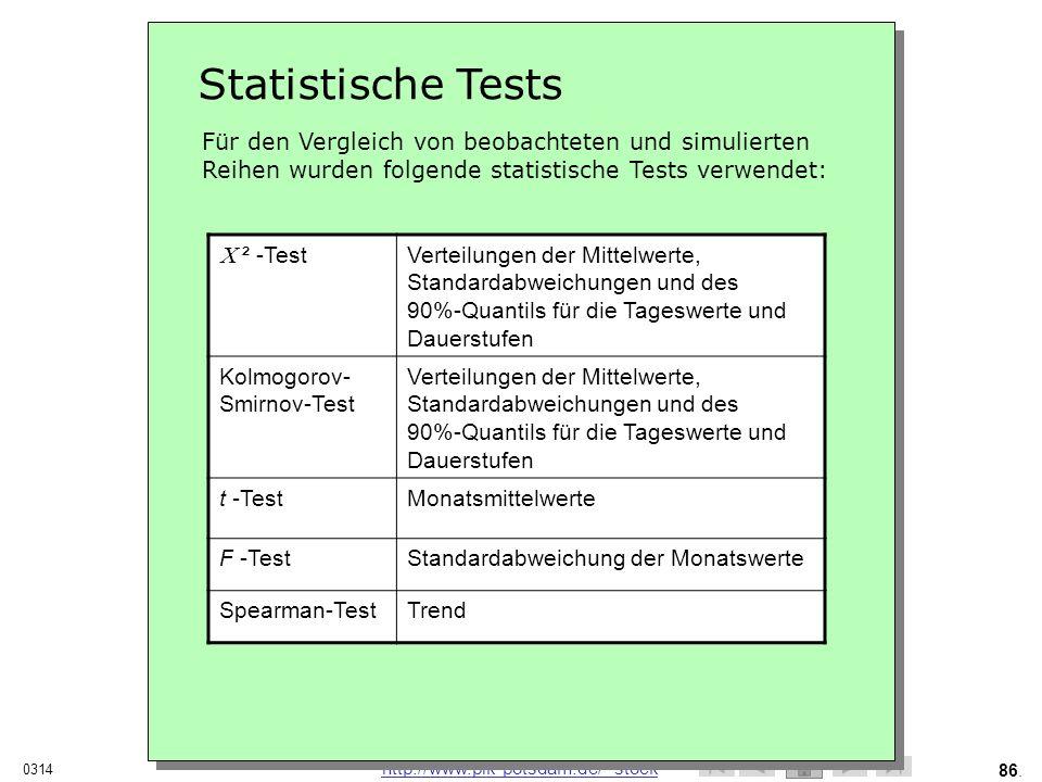 Statistische Tests Für den Vergleich von beobachteten und simulierten Reihen wurden folgende statistische Tests verwendet:
