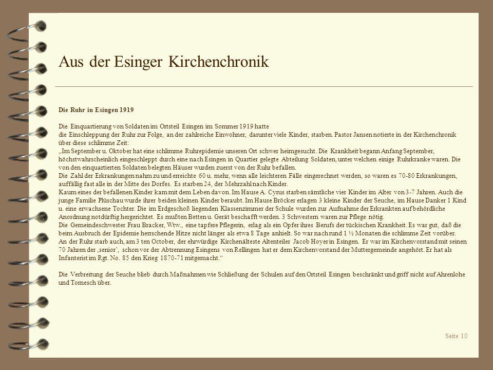Aus der Esinger Kirchenchronik