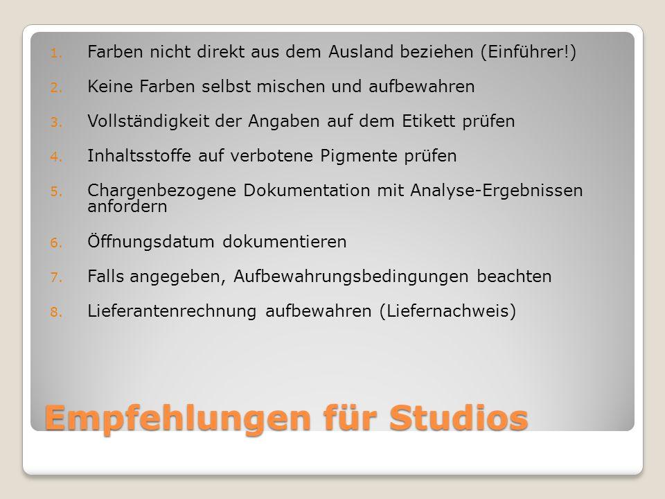 Empfehlungen für Studios