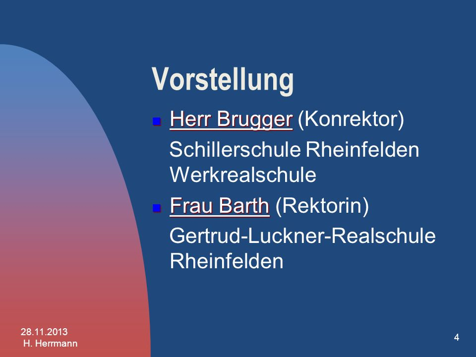 Vorstellung Herr Brugger (Konrektor)