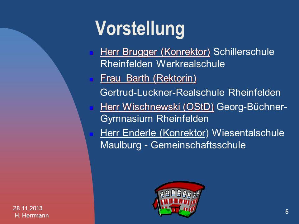 Vorstellung Herr Brugger (Konrektor) Schillerschule Rheinfelden Werkrealschule. Frau Barth (Rektorin)