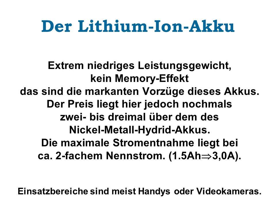 Der Lithium-Ion-Akku Extrem niedriges Leistungsgewicht,