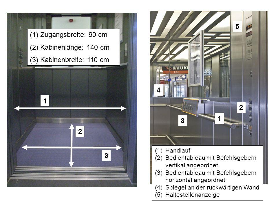 5 Zugangsbreite: 90 cm Kabinenlänge: 140 cm Kabinenbreite: 110 cm 4 1