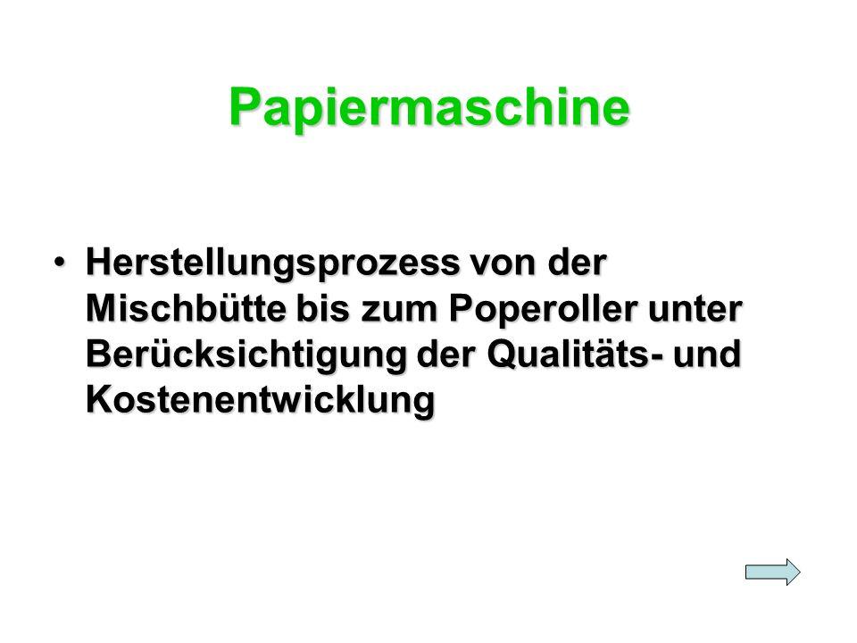 Papiermaschine Herstellungsprozess von der Mischbütte bis zum Poperoller unter Berücksichtigung der Qualitäts- und Kostenentwicklung.