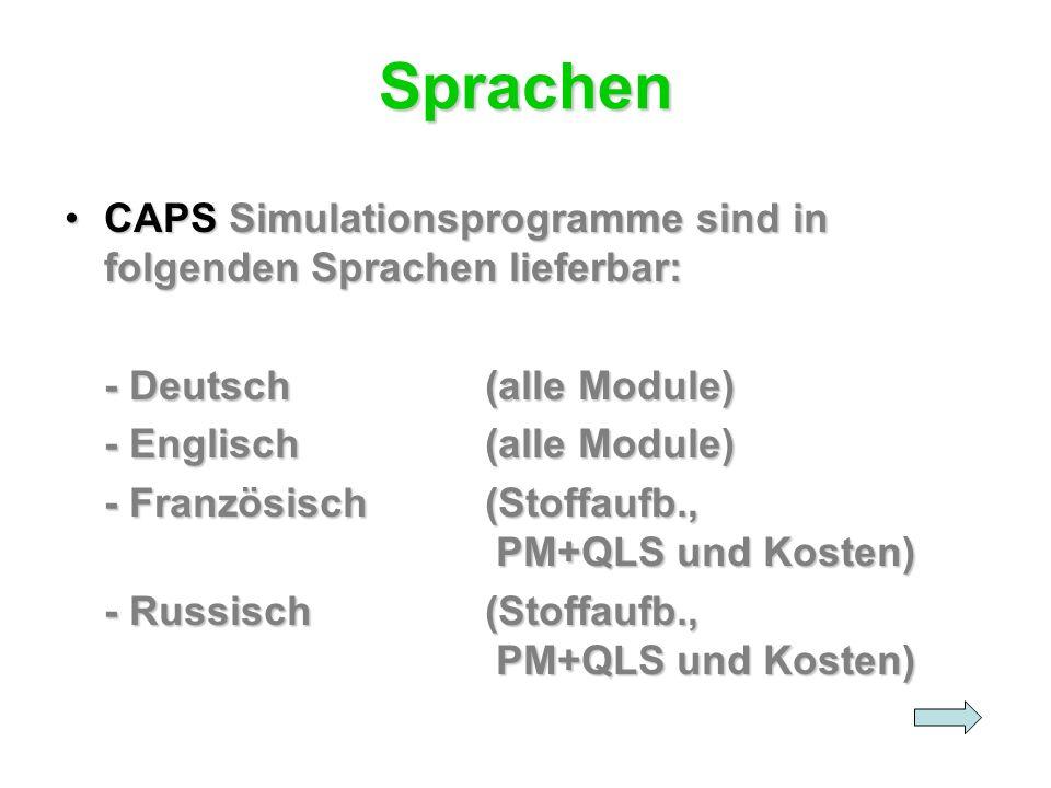 Sprachen CAPS Simulationsprogramme sind in folgenden Sprachen lieferbar: - Deutsch (alle Module) - Englisch (alle Module)