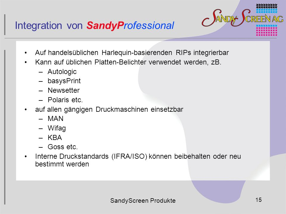 Integration von SandyProfessional