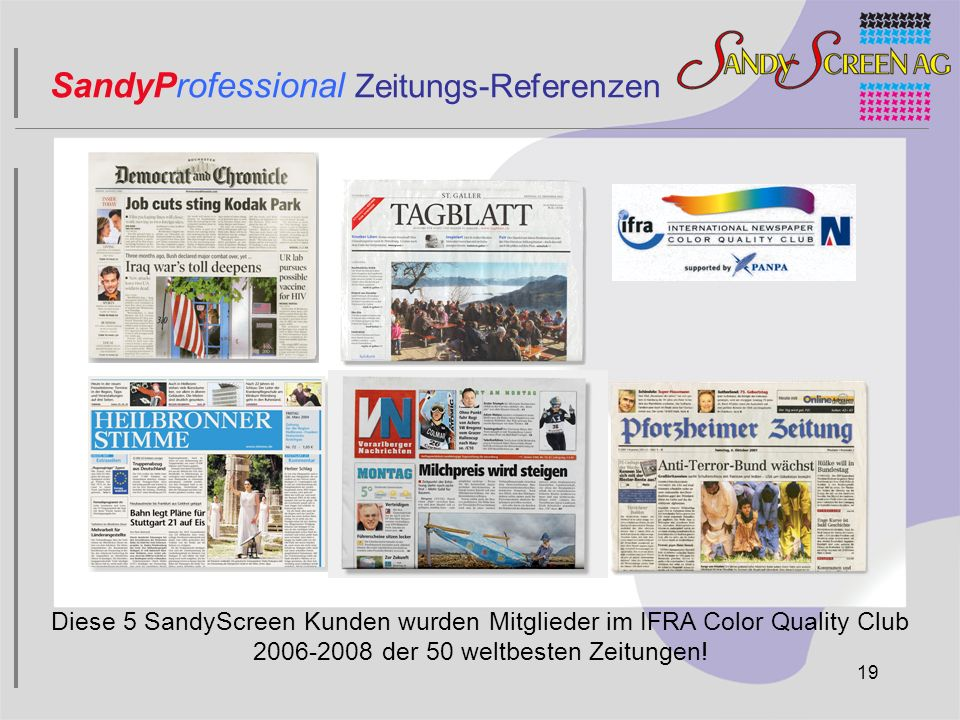 SandyProfessional Zeitungs-Referenzen