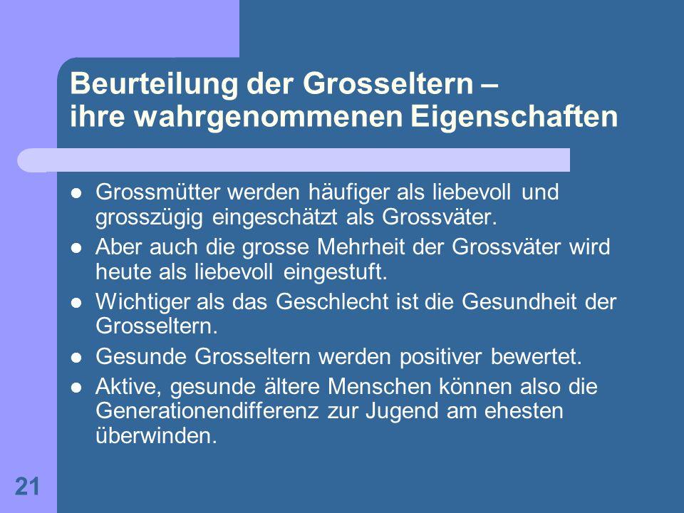 Beurteilung der Grosseltern – ihre wahrgenommenen Eigenschaften