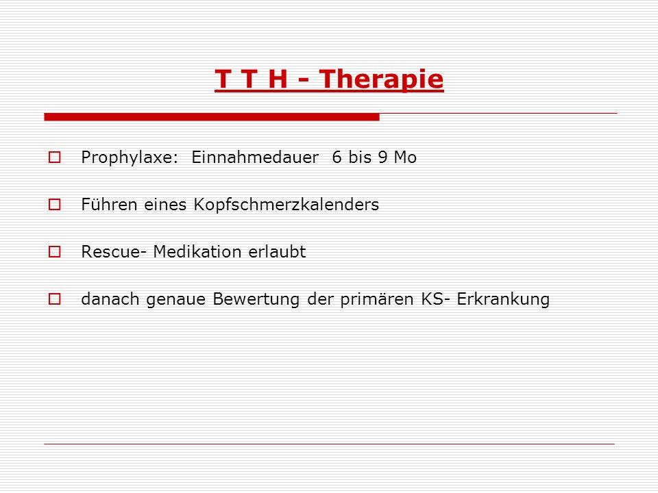 T T H - Therapie Prophylaxe: Einnahmedauer 6 bis 9 Mo