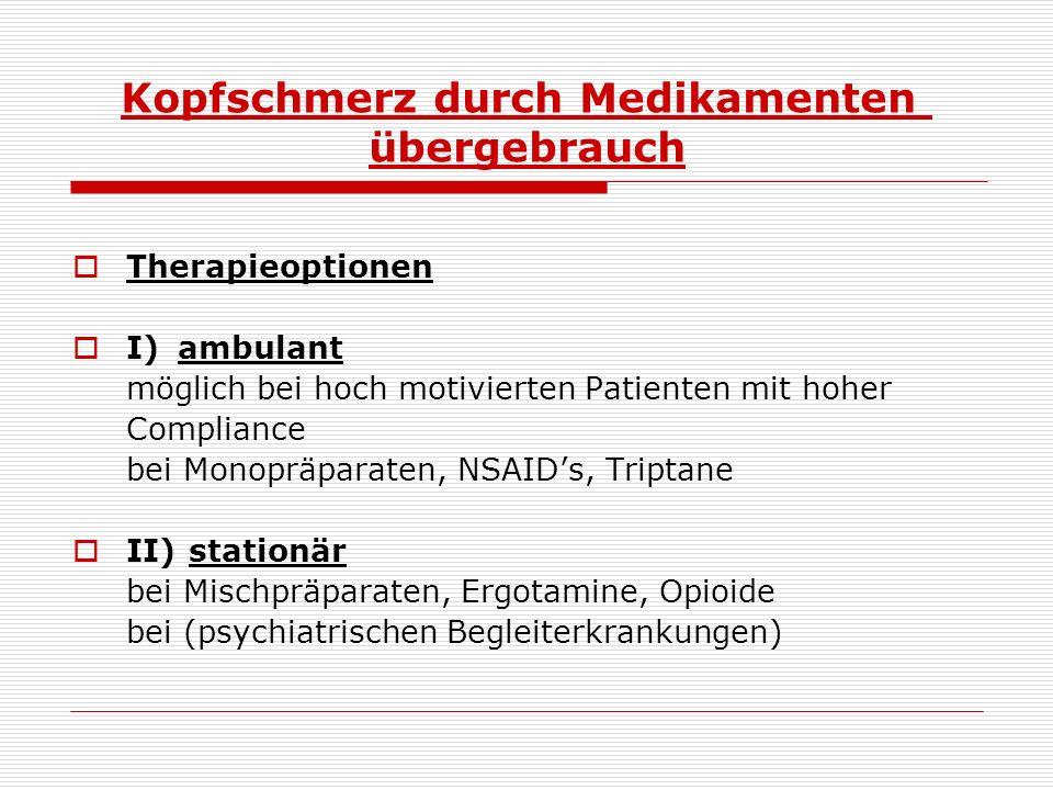 Kopfschmerz durch Medikamenten  übergebrauch