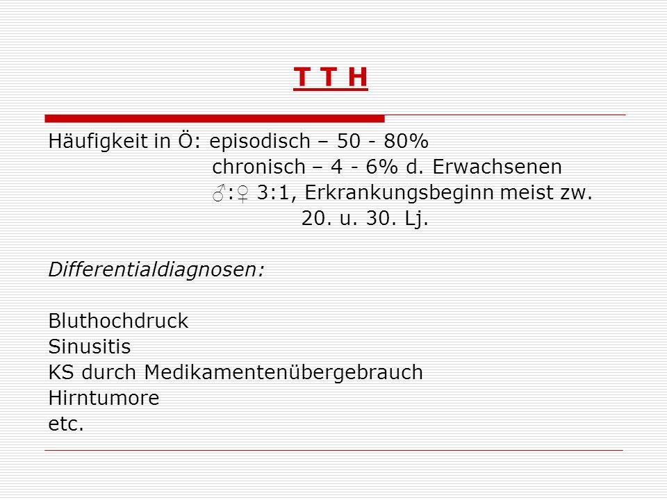 T T H Häufigkeit in Ö: episodisch – 50 - 80%