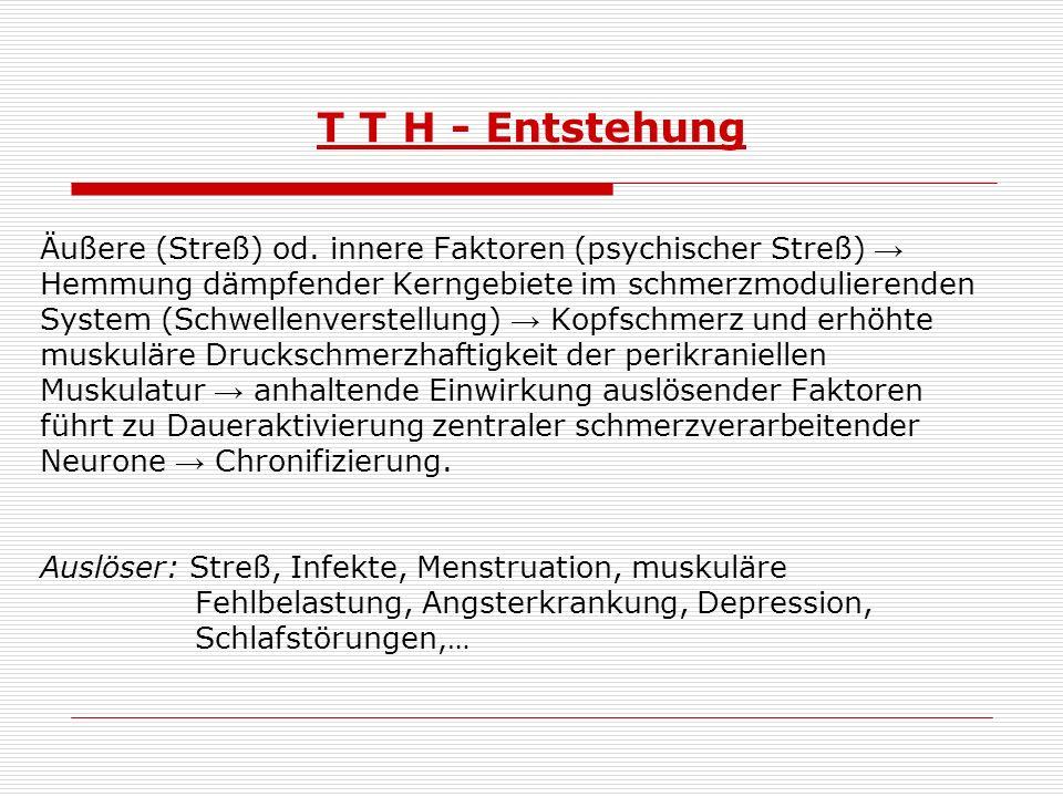 T T H - Entstehung Äußere (Streß) od. innere Faktoren (psychischer Streß) → Hemmung dämpfender Kerngebiete im schmerzmodulierenden.