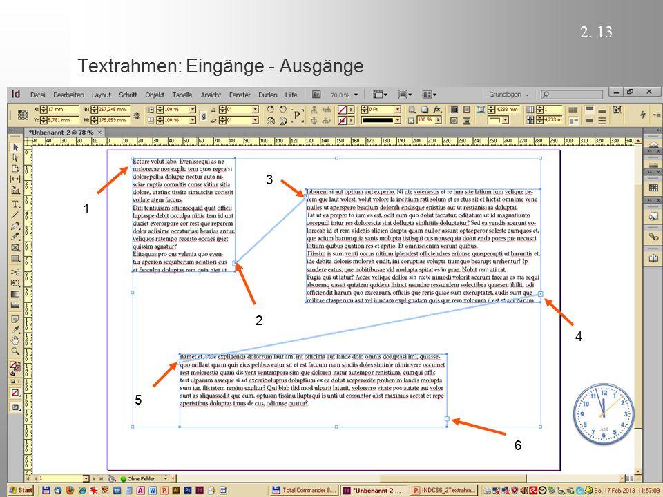 Textrahmen: Eingänge - Ausgänge