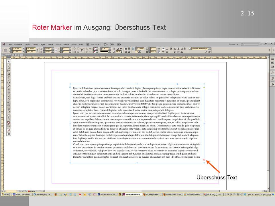 Roter Marker im Ausgang: Überschuss-Text
