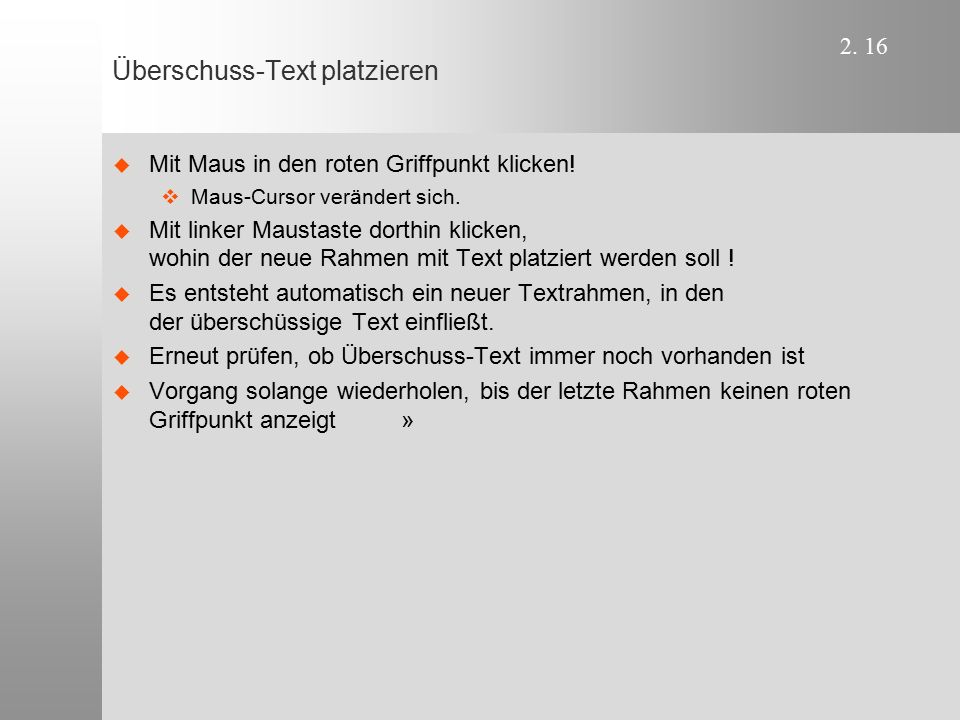 Überschuss-Text platzieren