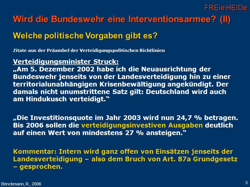 Wird die Bundeswehr eine Interventionsarmee (II)
