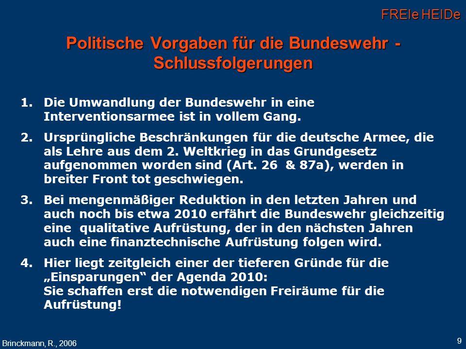 Politische Vorgaben für die Bundeswehr - Schlussfolgerungen