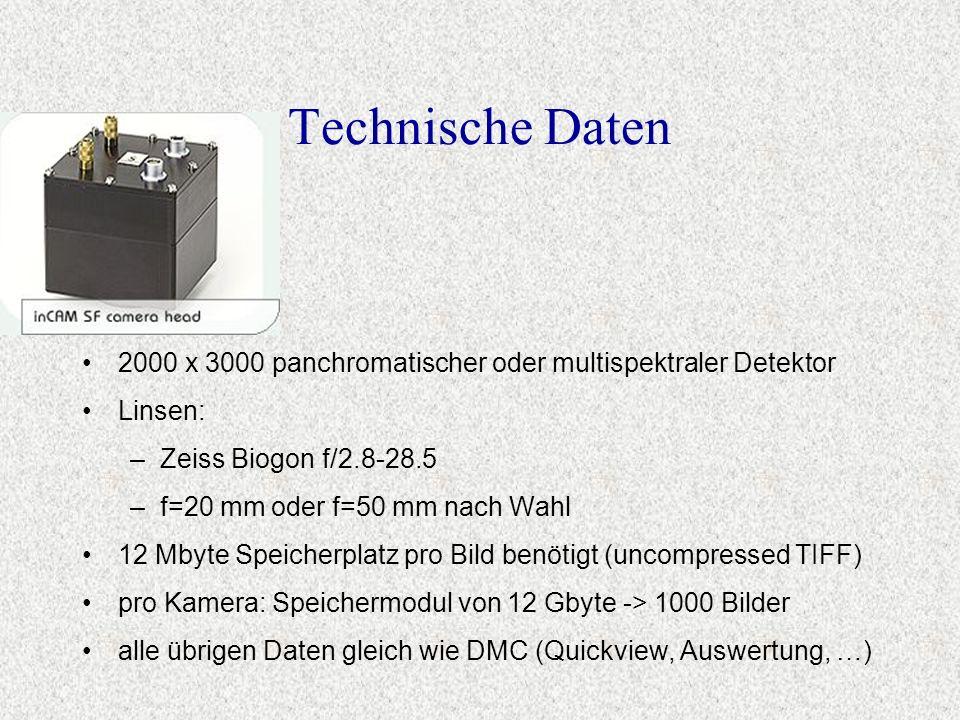 Technische Daten 2000 x 3000 panchromatischer oder multispektraler Detektor. Linsen: Zeiss Biogon f/2.8-28.5.