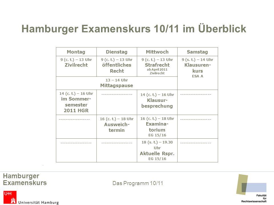 Hamburger Examenskurs 10/11 im Überblick im Sommer-semester 2011 HGR