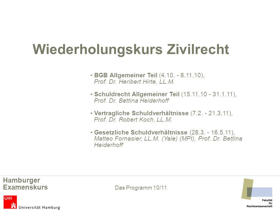 Wiederholungskurs Zivilrecht. ▪ BGB Allgemeiner Teil (4. 10. - 8. 11