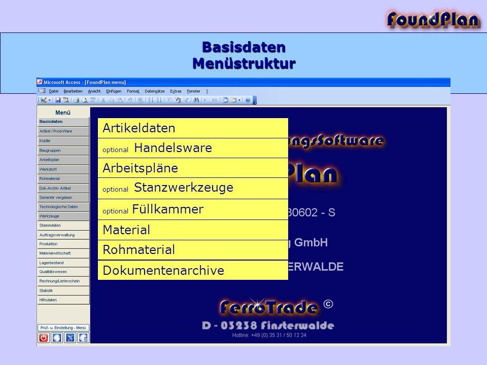 Basisdaten Menüstruktur