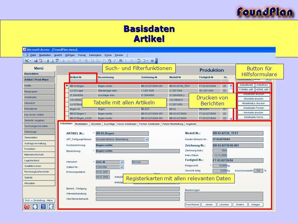 Basisdaten Artikel Such- und Filterfunktionen