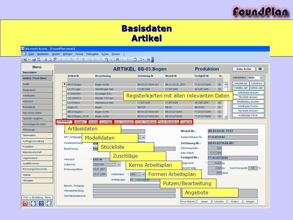 Registerkarten mit allen relevanten Daten