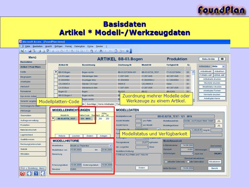 Artikel * Modell-/Werkzeugdaten