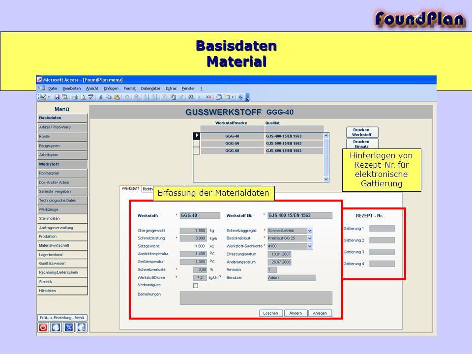Basisdaten Material. Hinterlegen von Rezept-Nr. für elektronische Gattierung.