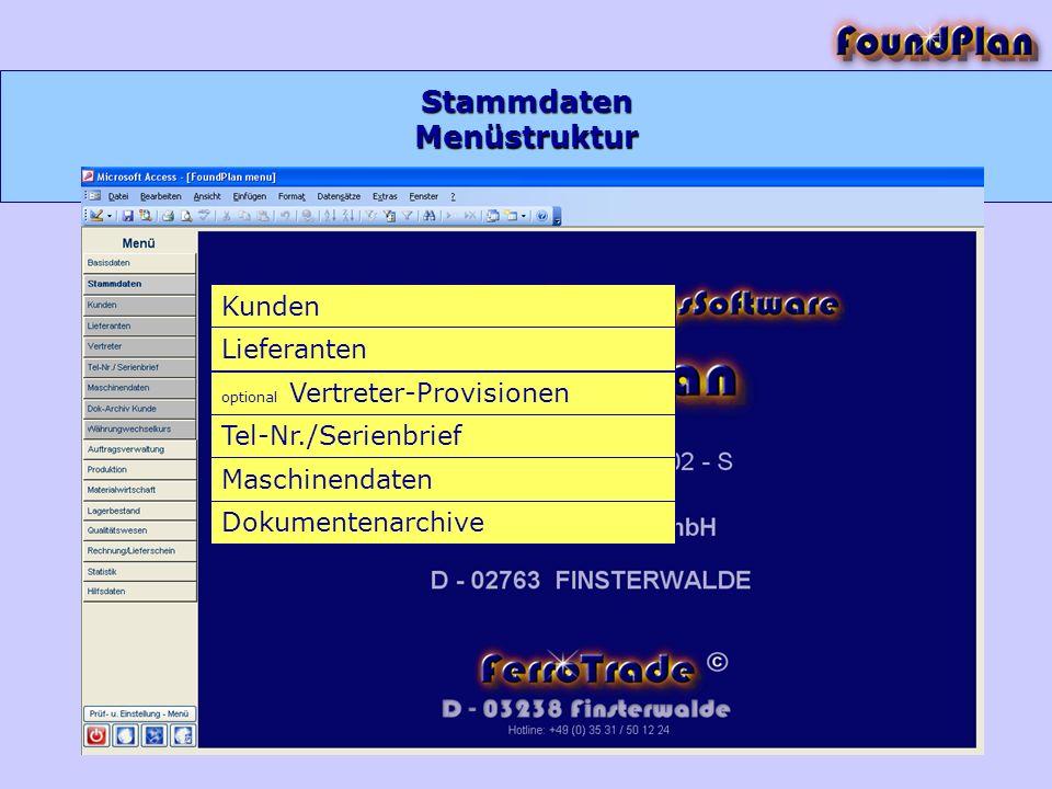 Stammdaten Menüstruktur