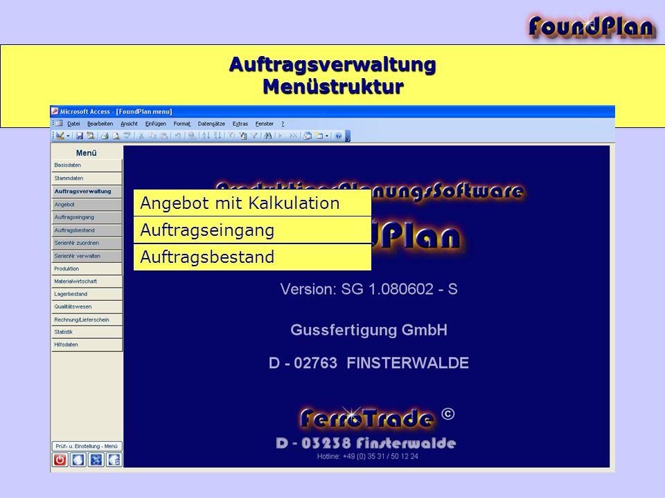 Auftragsverwaltung Menüstruktur