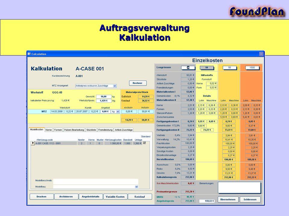 Auftragsverwaltung Kalkulation