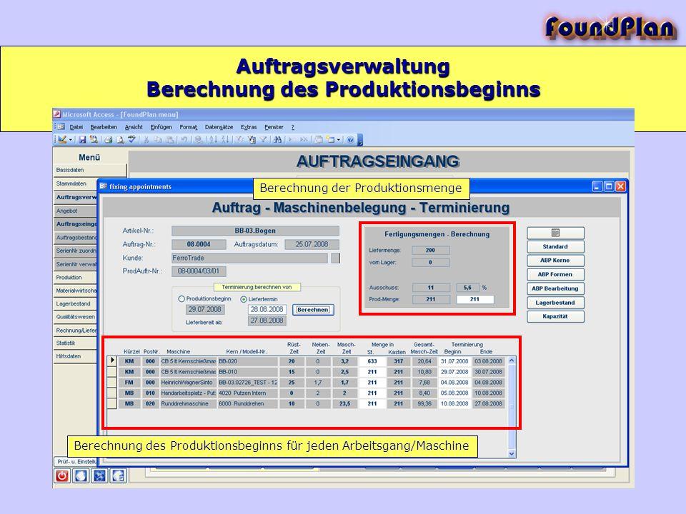 Berechnung des Produktionsbeginns