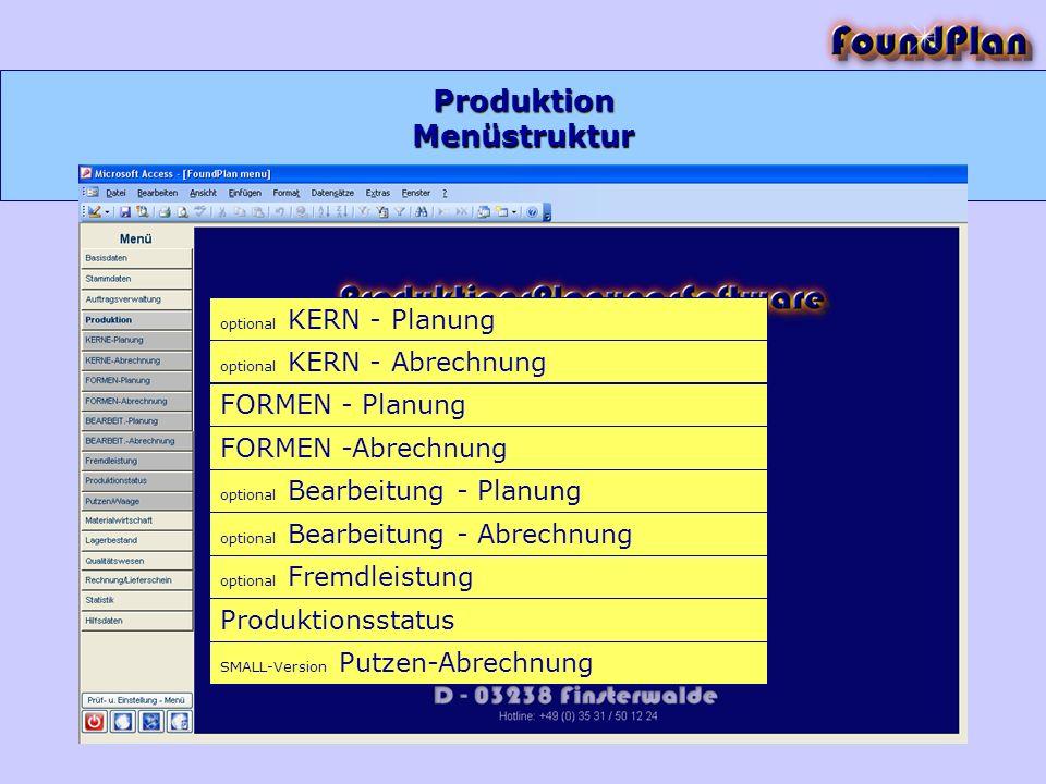 Produktion Menüstruktur